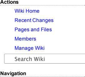 Actions Wiki Home Recent Changes Pages and Files Members Manage Wiki Search Wiki Navigation