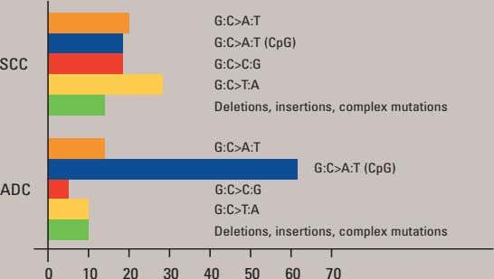 G:C>T:A 0 10 50 20 60 70 40 30 Deletions, insertions, complex mutations G:C>A:T G:C>C:G ADC