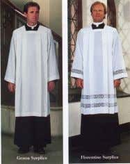 : a loose-fitting white church vestment with wide sleeves. Amice : A liturgical vestment consisting of