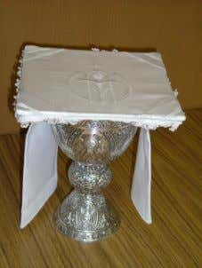 during the Mass. The pall rests on top of the paten, the purificator and the chalice