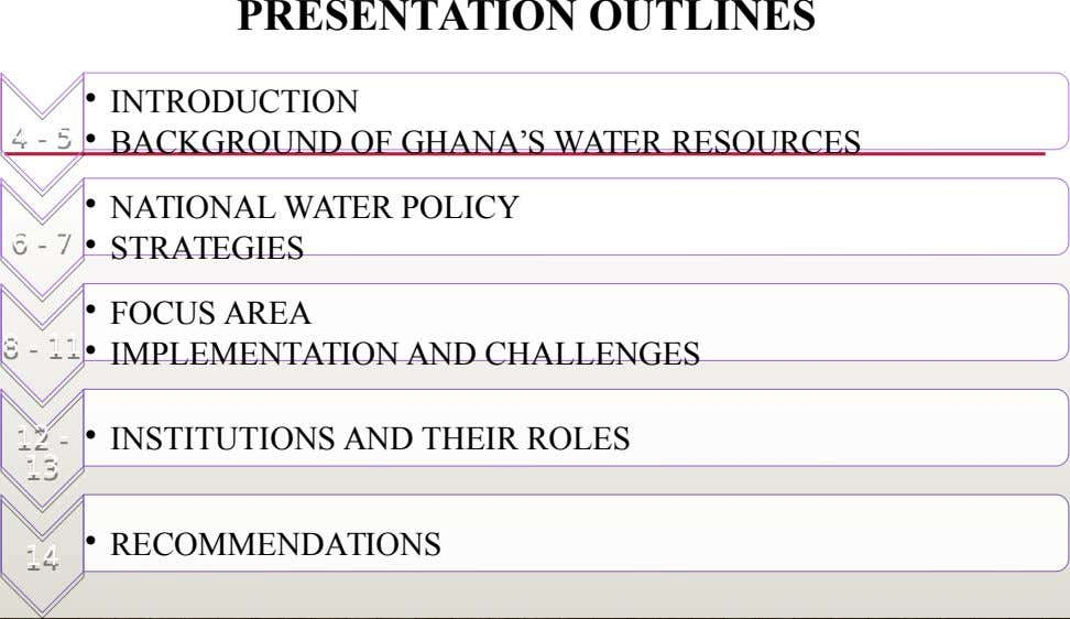 PRESENTATION OUTLINES • INTRODUCTION 4 4 - 5 - 5 • BACKGROUND OF GHANA'S WATER RESOURCES