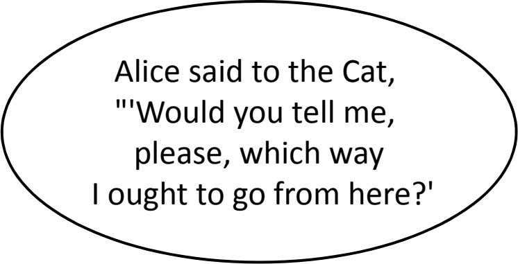 "Alice said to the Cat, ""'Would you tell me, please, which way I ought to"