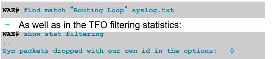 "WAE# find match "" Routing Loop"" syslog.txt As well as in the TFO filtering statistics:"