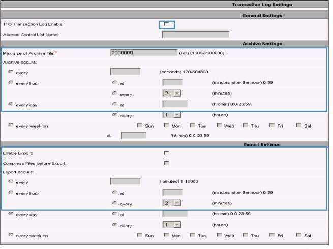 tfo_log_IPADDRESS_YYYY MMDD_HHMMSS.txt Export log schedule BRKAPP-3006 © 2012 Cisco and/or its affiliates. All rights