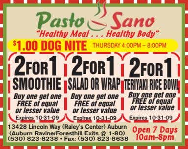 """Healthy Meal Healthy Body"" $ 1.00 DOG NITE THURSDAY 4:00PM – 8:00PM 2FOR1 2FOR1 2FOR1"