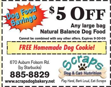 $ 5 OFF Any large bag Natural Balance Dog Food Cannot be combined with any