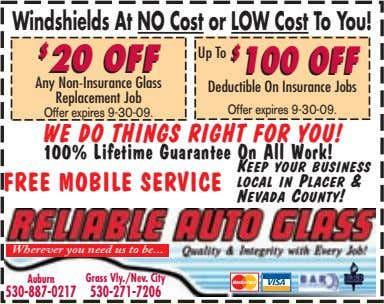Windshields At NO Cost or LOW Cost To You! $ $ 20 20 OFF OFF