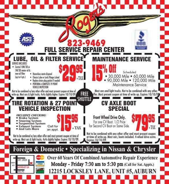823-9469 FULL SERVICE REPAIR CENTER LUBE, OIL & FILTER SERVICE MAINTENANCE SERVICE SERVICE INCLUDES: •