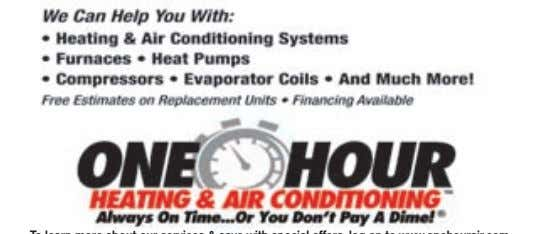 One Hour Heating & Air Conditioning Has Solutions! To learn more about our services & save