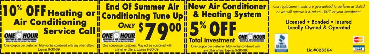 10 % OFF Heating or Air Conditioning Service Call End Of Summer Air Conditioning Tune