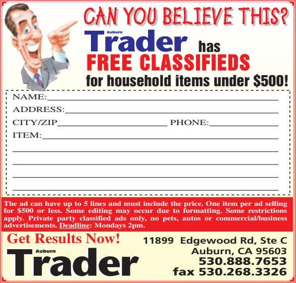 CANCAN YOUYOU BELIEVEBELIEVE THIS?THIS? has FREE CLASSIFIEDS for household items under $500! NAME: ADDRESS: CITY/ZIP