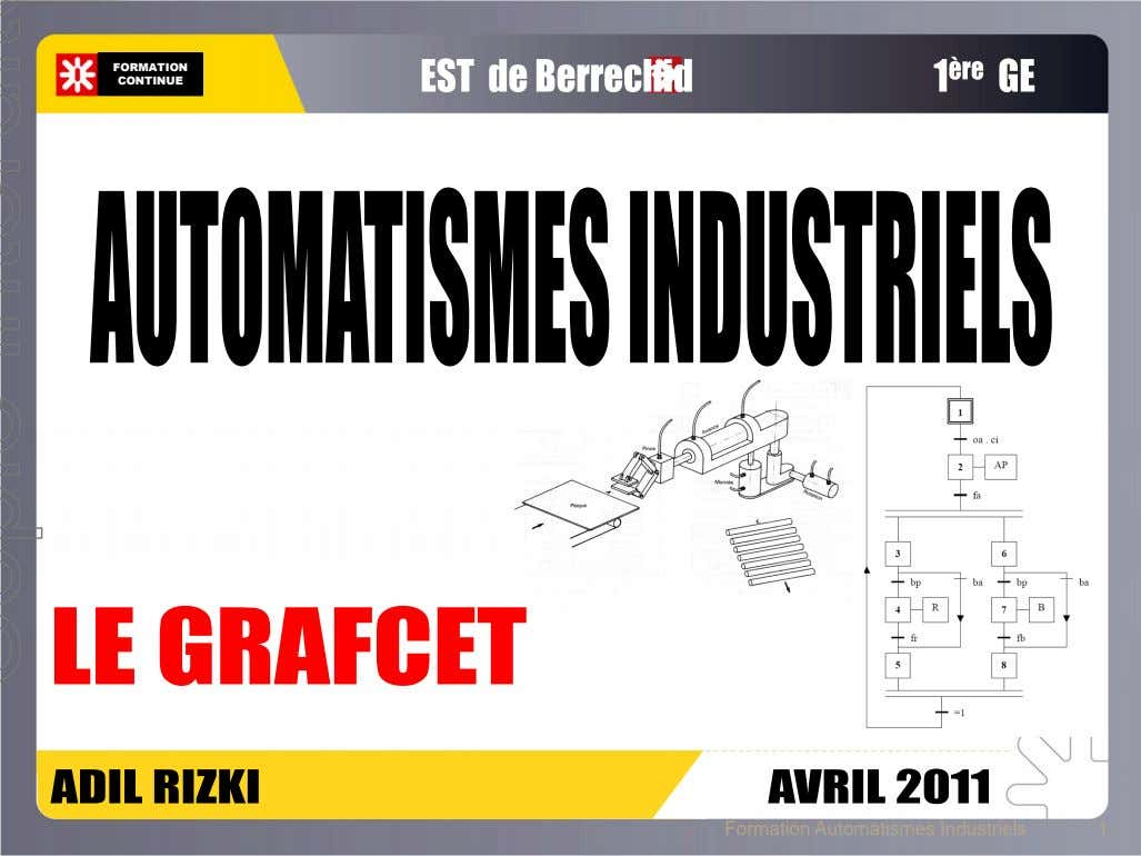 FORMATION CONTINUE Formation Automatismes Industriels 1