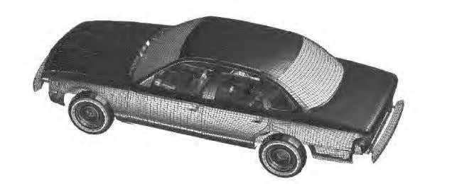 Illustration 1: Finite element model of a Ford Taurus E ach of the little quadrilateral areas
