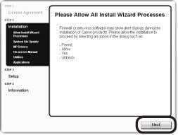 7 8 1 2 3 4 5 6 8 When the Please Allow All Install Wizard