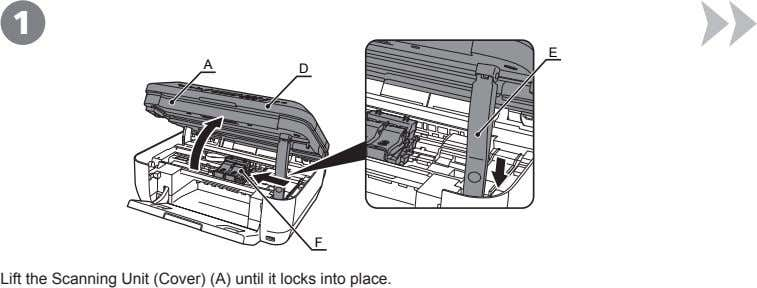 1 E A D F Lift the Scanning Unit (Cover) (A) until it locks into