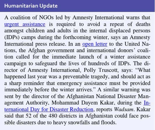 Humanitarian Update A coalition of NGOs led by Amnesty International warns that urgent assistance is