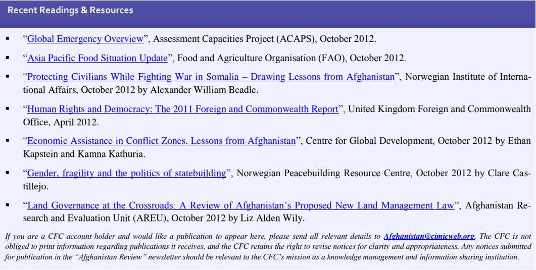 "Recent Readings & Resources  ""Global Emergency Overview"", Assessment Capacities Project (ACAPS), October 2012."