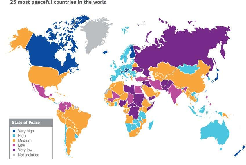 25 most peaceful countries in the world State of Peace Very high High Medium Low