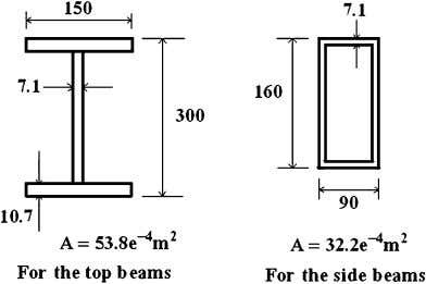 reasonable because of the damping effect of the structure. Fig. 6. Cross sections of the beams