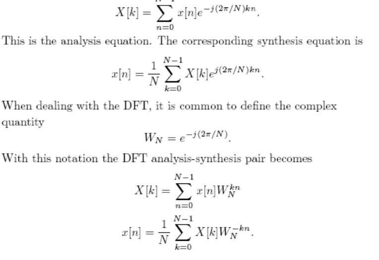 An important property of the DFT is that it is cyclic, with period N, both