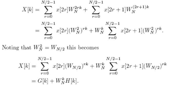 transforms. That is, X[k] can be written as X[k] =N The original N-point DFT can therefore