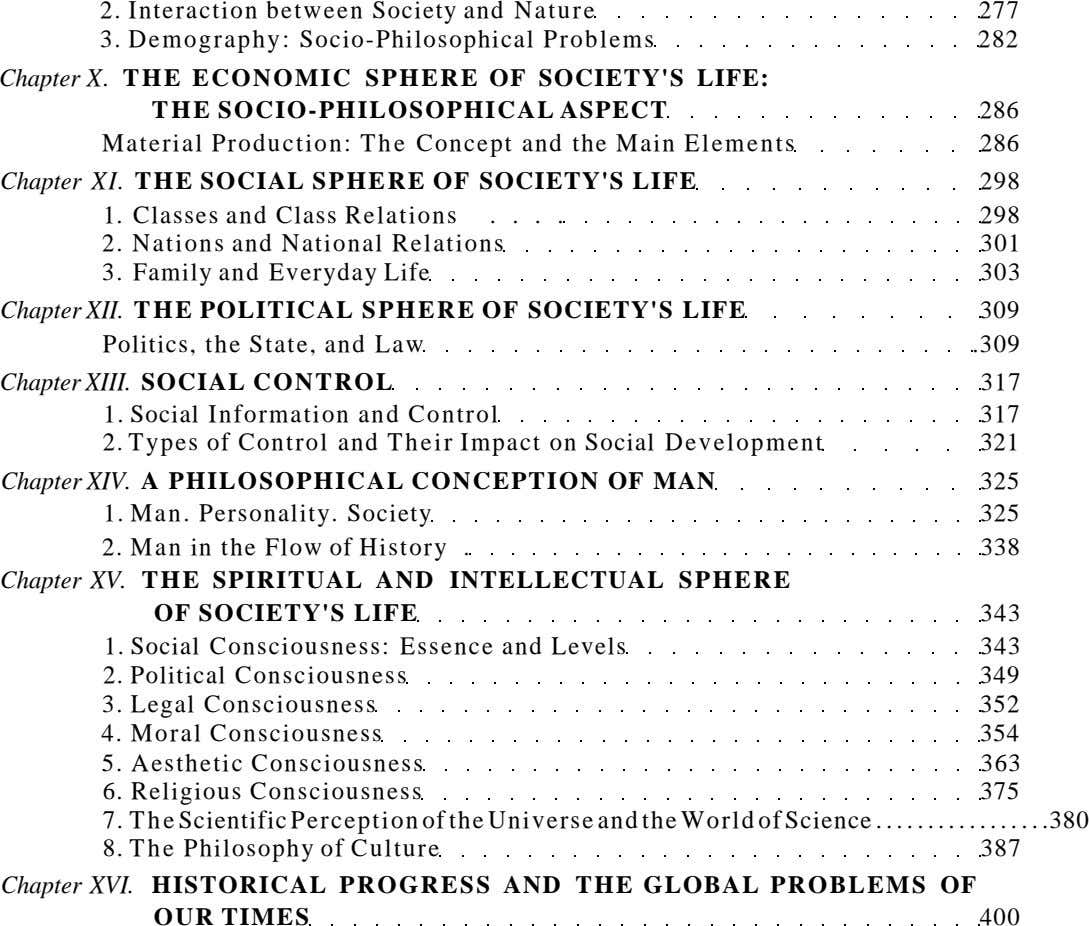 2. Interaction between Society and Nature 277 3. Demography: Socio-Philosophical Problems 282 Chapter X. TH