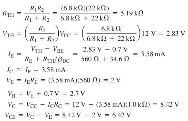 Vce also varies.as shown in figure by formulas. DC Analysis Method: an example is given for