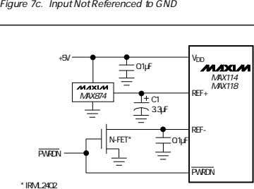 Figure 7c. Input Not Referenced to GND +5V V DD 0.1µF MAX114 MAX118 REF+ MAX874