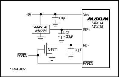C1 3.3µF REF- N-FET* 0.1µF PWRDN PWRDN * IRML2402 Figure 7d. An N-channel MOSFET switches off