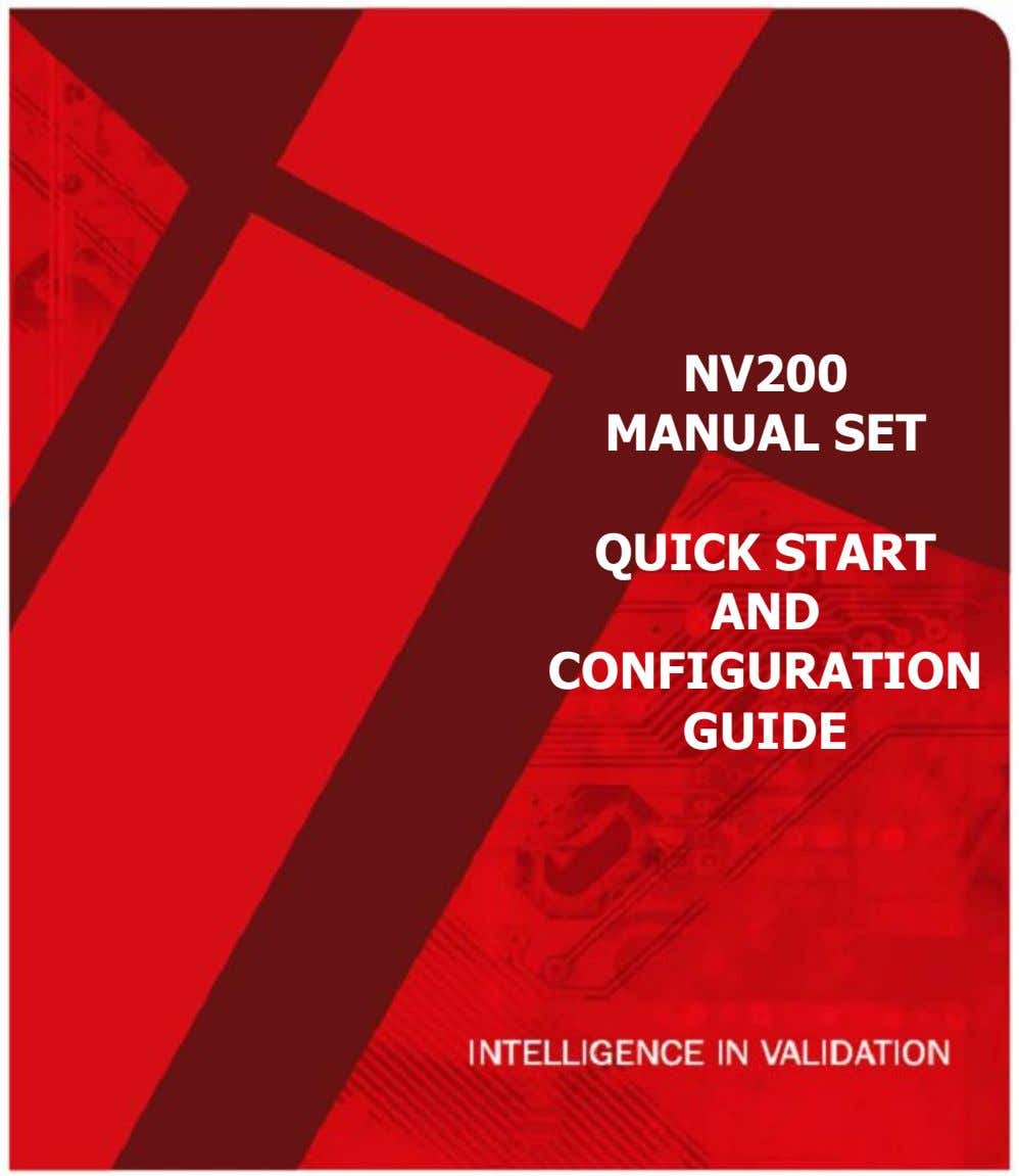 NV200 MANUAL SET QUICK START AND CONFIGURATION GUIDE