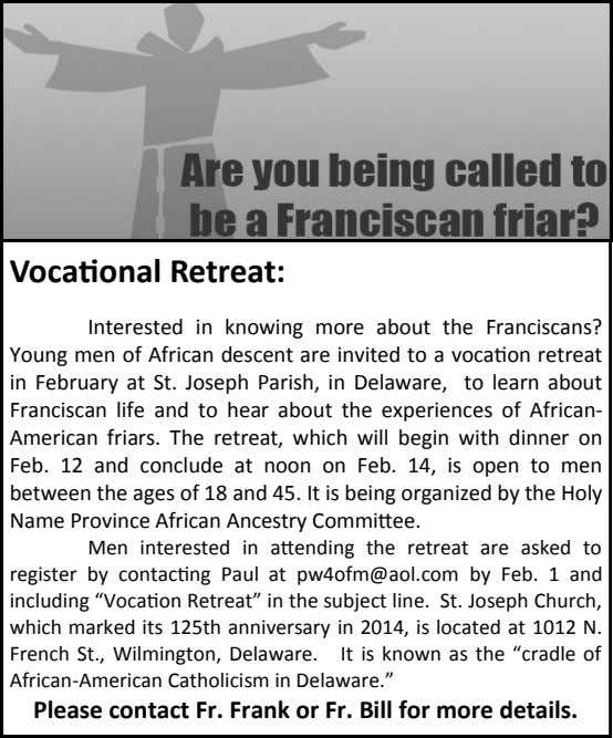 Vocational Retreat: Interested in knowing more about the Franciscans? Young men of African descent are