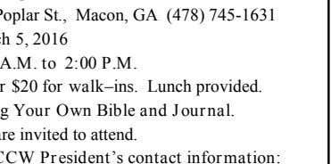 Bring Your Own Bible and Journal. All are invited to attend. CONTACT: Local CCW President's contact