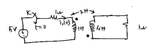 the switch k is closed at t = 0 in the below circuit. (10) 12. Find