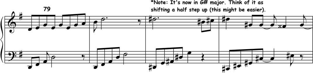 79 *Note: It's now in G# major. Think of it as shifting a half step