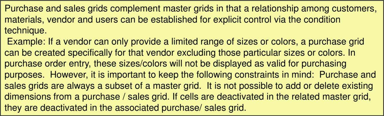 Purchase and sales grids complement master grids in that a relationship among customers, materials, vendor