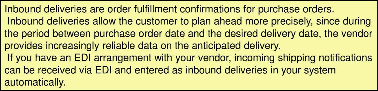 Inbound deliveries are order fulfillment confirmations for purchase orders. Inbound deliveries allow the customer to
