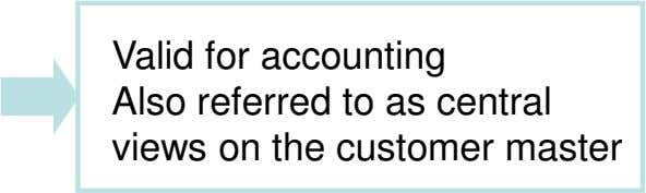 Valid for accounting Also referred to as central views on the customer master
