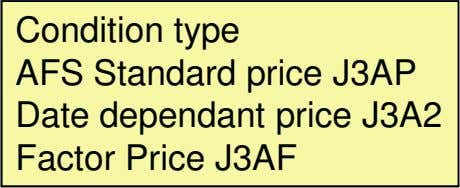 Condition type AFS Standard price J3AP Date dependant price J3A2 Factor Price J3AF
