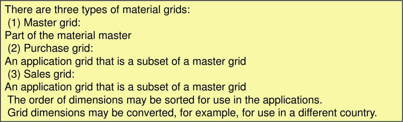 There are three types of material grids: (1) Master grid: Part of the material master