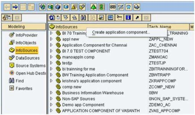 right-click InfoSources and select Create application compo 3.3 Creating an InfoSource for Characteristic Data (Use the