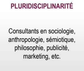 PLURIDISCIPLINARITÉ Consultants en sociologie, anthropologie, sémiotique, philosophie, publicité, marketing, etc.