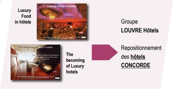 Luxury Food in hôtels Groupe LOUVRE Hôtels The becoming of Luxury Repositionnement des hôtels CONCORDE