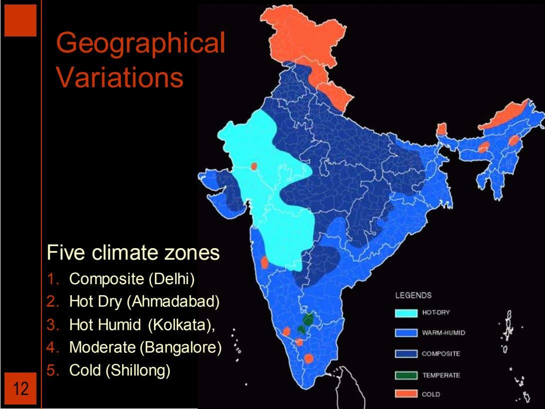 Geographical Variations Five climate zones 1. Composite (Delhi) 2. Hot Dry (Ahmadabad) 3. Hot Humid