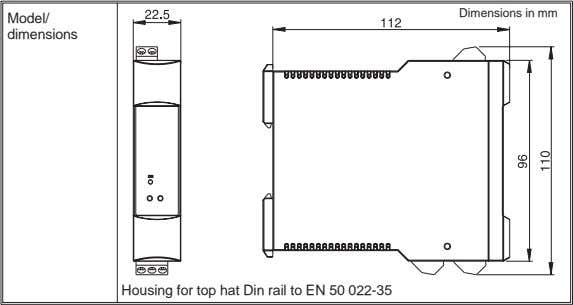 Dimensions in mm Model/ dimensions Housing for top hat Din rail to EN 50 022-35