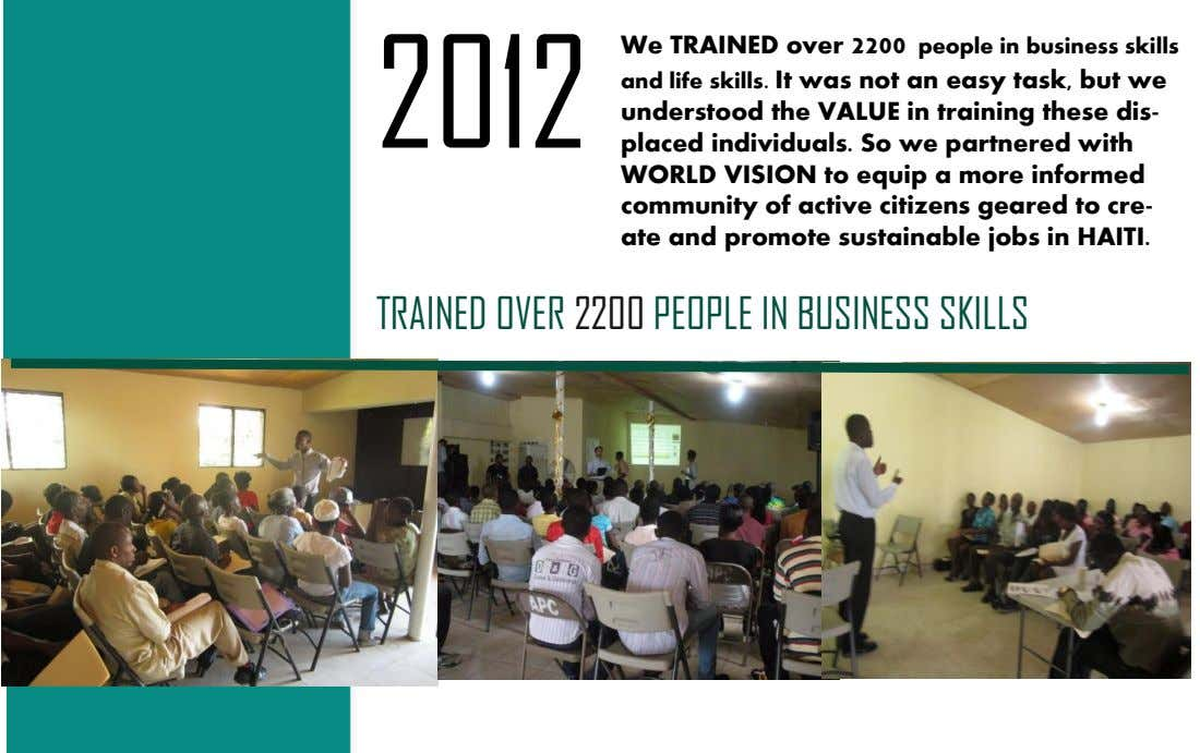 We TRAINED over 2200 people in business skills 2012 and life skills. It was not