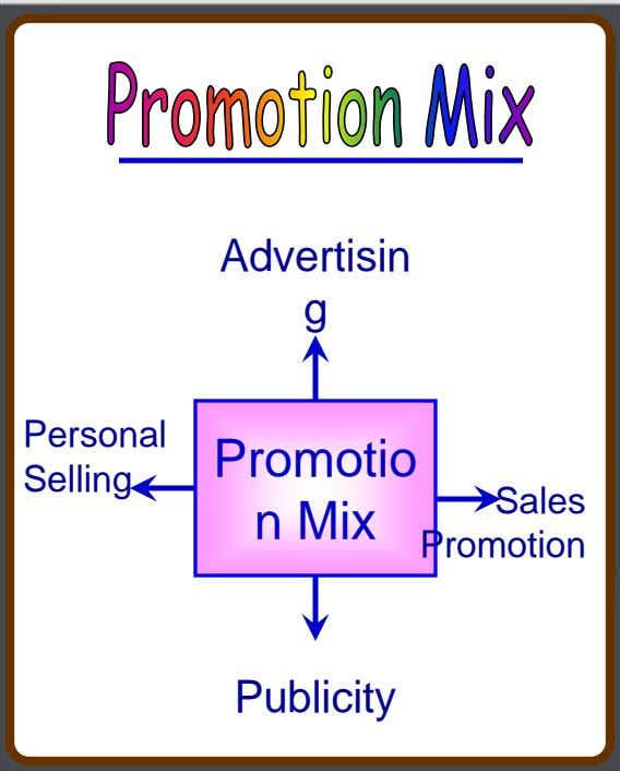 Advertisin g Personal Selling Promotio n Mix Sales Promotion Publicity