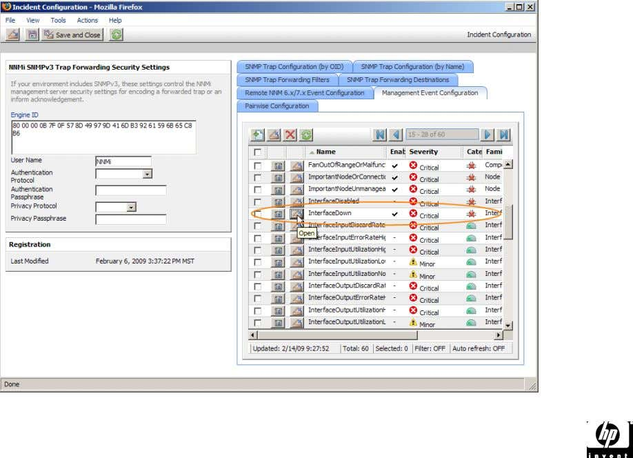 • Choose the Management Event Configuration tab and open the Interface Down incident