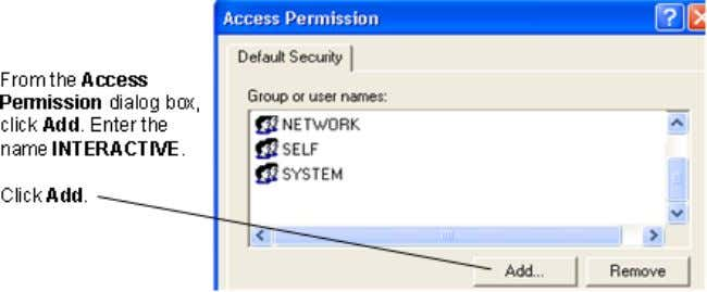 To add a user to DCOM Access Permission Note Restart your computer . Interactive test clients