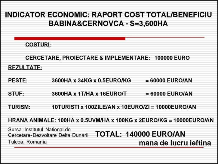 INDICATORINDICATOR ECONOMIC:ECONOMIC: RAPORTRAPORT COSTCOST TOTAL/BENEFICIUTOTAL/BENEFICIU