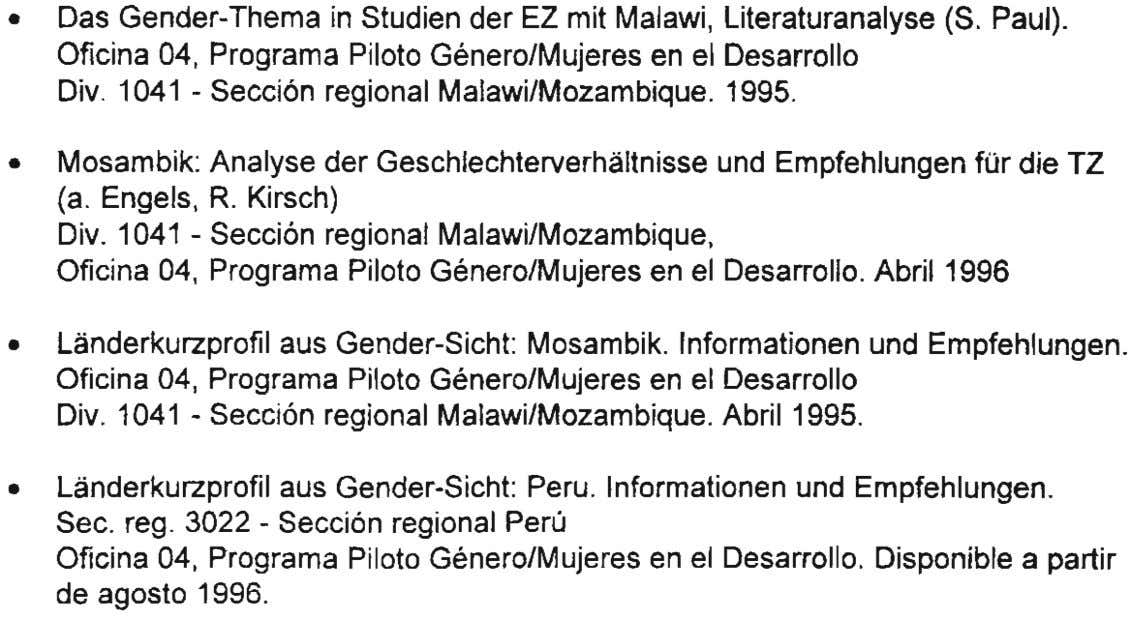 • Das Gender-Thema in Studien der EZ mit Malawi , Literaturanalyse (S. Paul). Oficina 04,